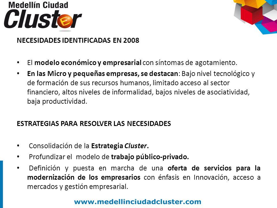 NECESIDADES IDENTIFICADAS EN 2008 El modelo económico y empresarial con síntomas de agotamiento. En las Micro y pequeñas empresas, se destacan: Bajo n