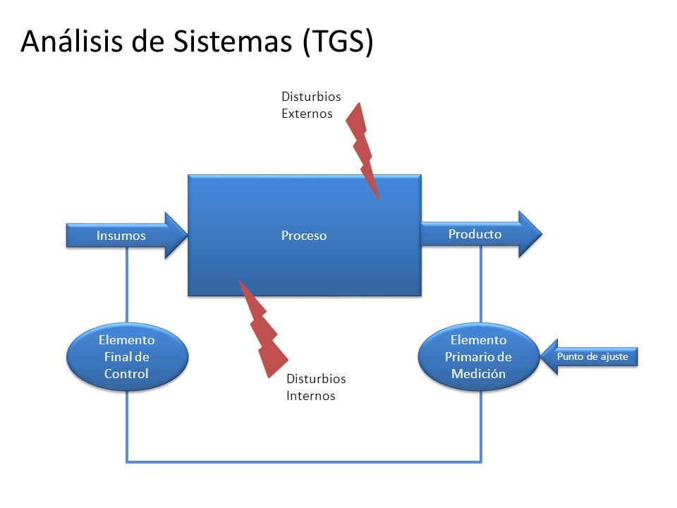 Disturbios Externos Disturbios Internos Proceso Insumos Producto Elemento Primario de Medición Punto de ajuste Elemento Final de Control Análisis de S