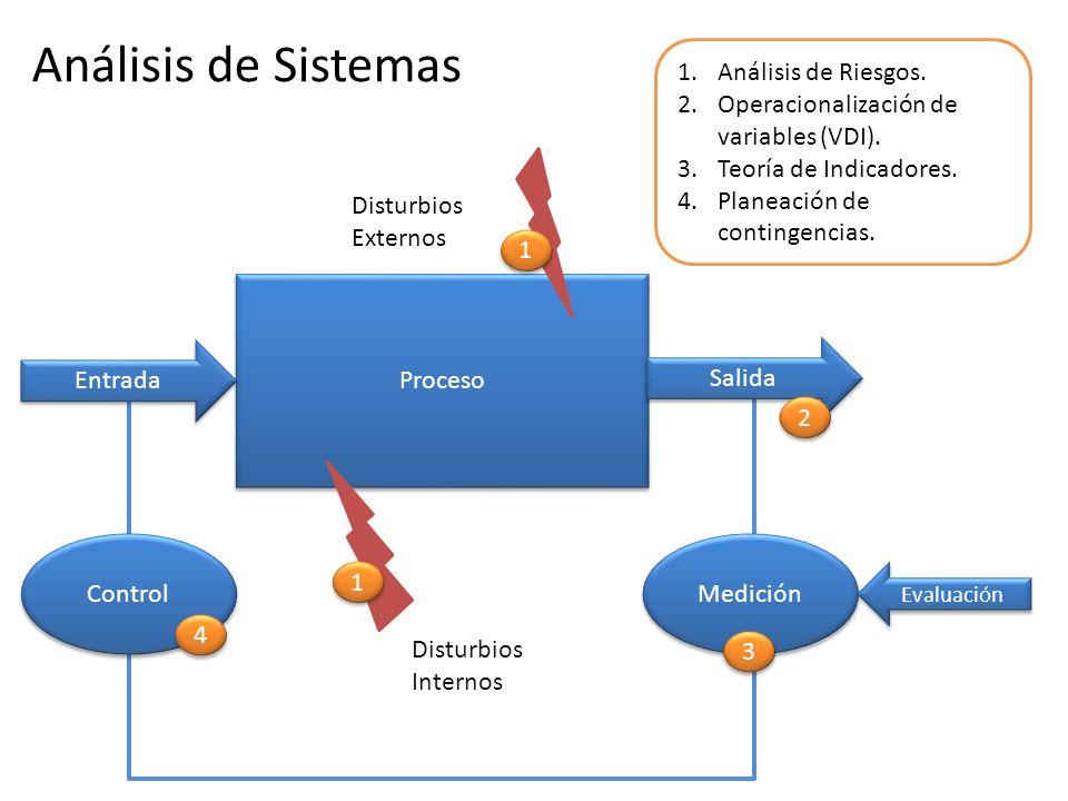Disturbios Externos Disturbios Internos Proceso Entrada Salida Medición Evaluación Control Análisis de Sistemas 1.Análisis de Riesgos. 2.Operacionaliz