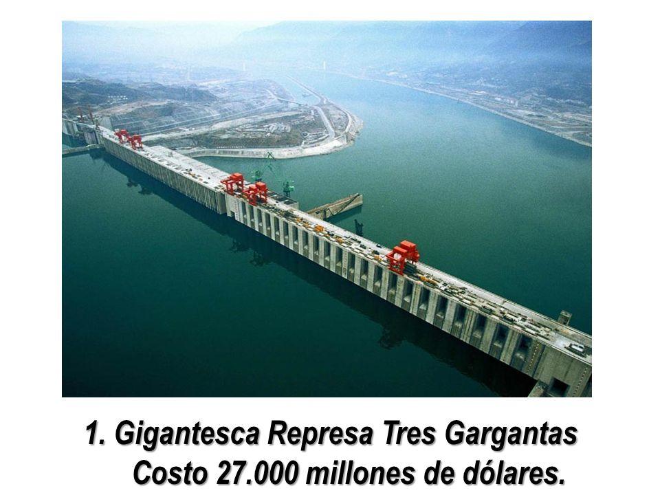 1. Gigantesca Represa Tres Gargantas Costo 27.000 millones de dólares.