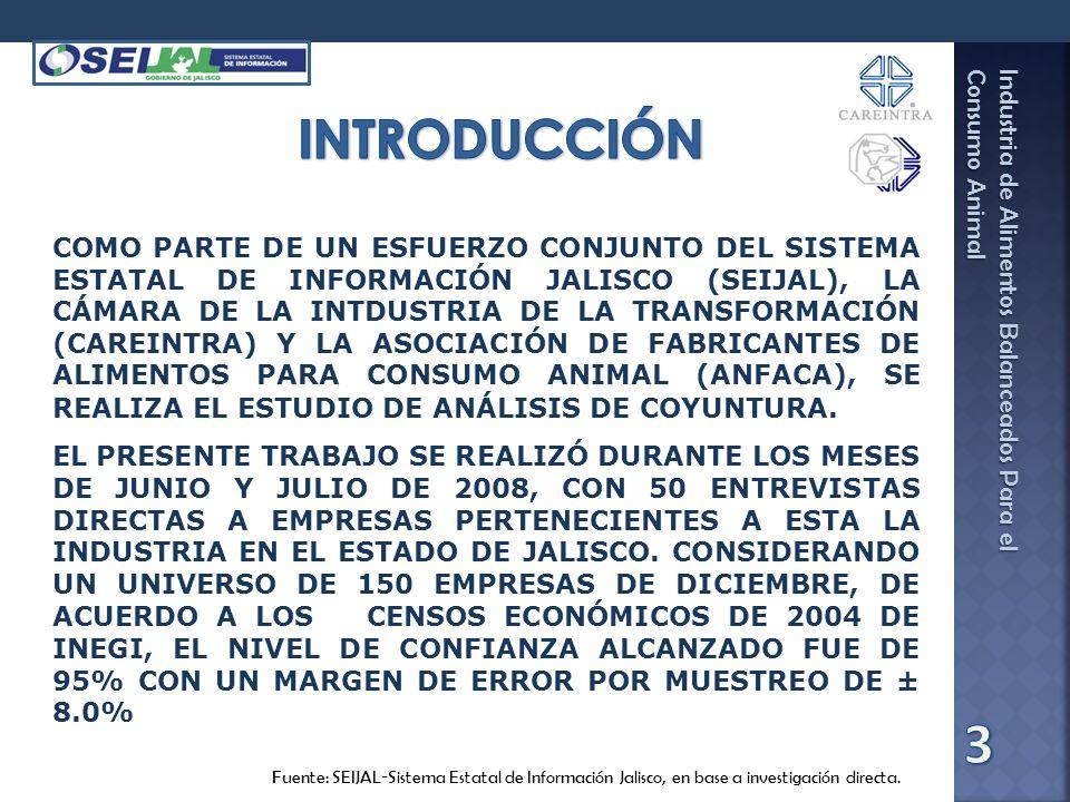 Industria de Alimentos Balanceados Para el Consumo Animal Fuente: SEIJAL-Sistema Estatal de Información Jalisco, en base a investigación directa. COMO