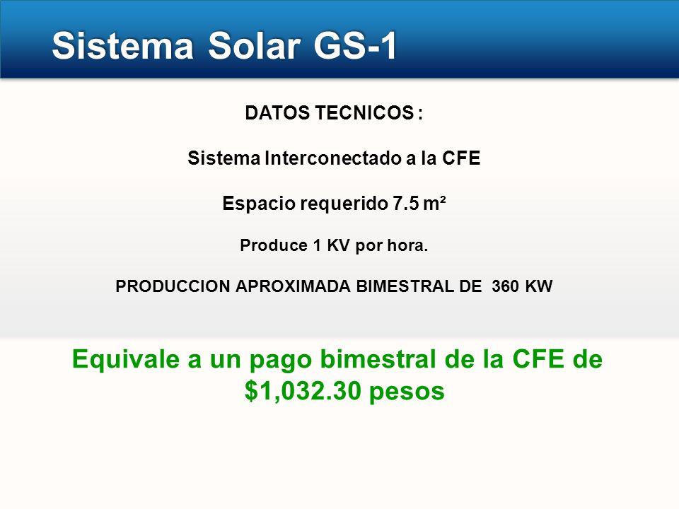 Sistema Solar GS-1 DATOS TECNICOS : Sistema Interconectado a la CFE Espacio requerido 7.5 m² Produce 1 KV por hora. PRODUCCION APROXIMADA BIMESTRAL DE