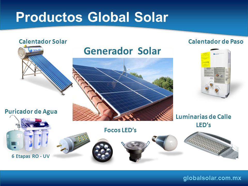globalsolar.com.mx Productos Global Solar Calentador Solar Calentador de Paso Focos LEDs Luminarias de Calle LEDs Puricador de Agua 6 Etapas RO - UV G