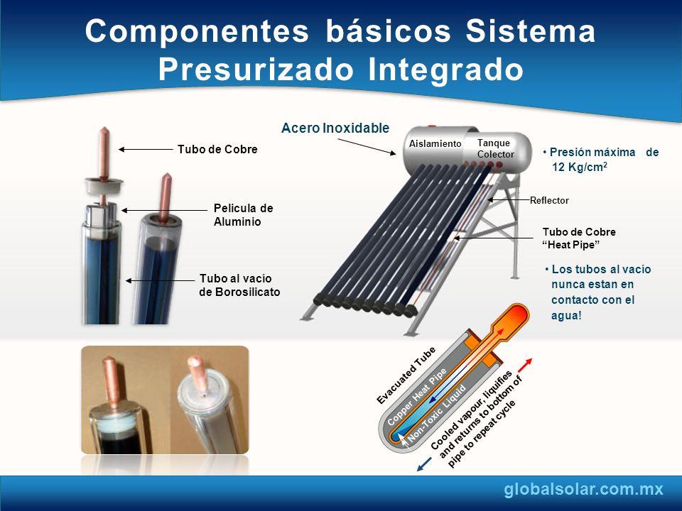 Calentador de Paso 6L Sistema Solar con calentador de paso de respaldo.