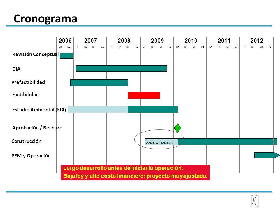 Cronograma Q3Q4Q1Q2Q3Q4Q1Q2Q3Q4Q1Q2Q3Q4Q1Q2Q3Q4Q1Q2Q3Q4 201020112006200720082009 Largo desarrollo antes de iniciar la operación. Baja ley y alto costo