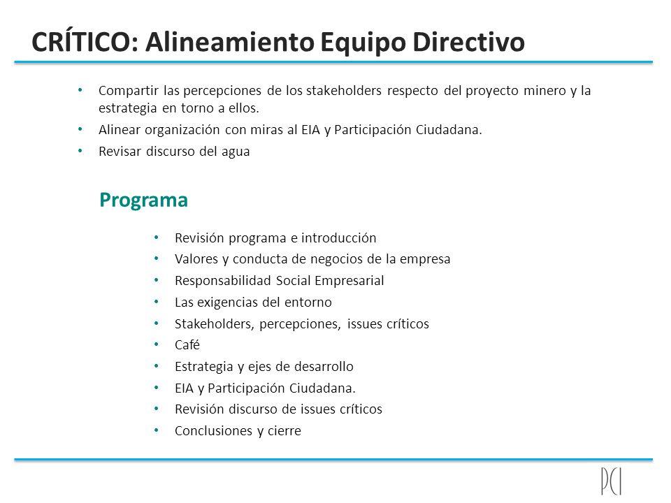 CRÍTICO: Alineamiento Equipo Directivo Compartir las percepciones de los stakeholders respecto del proyecto minero y la estrategia en torno a ellos. A