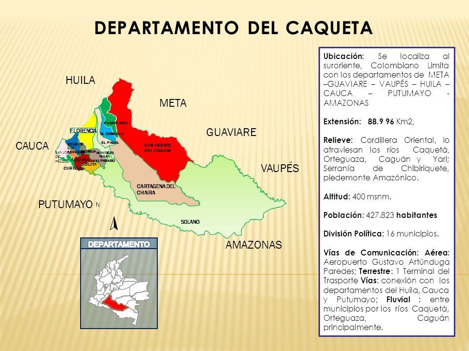 DEPARTAMENTO DEL CAQUETA Ubicación: Se localiza al suroriente, Colombiano Limita con los departamentos de META –GUAVIARE – VAUPÉS – HUILA – CAUCA – PU