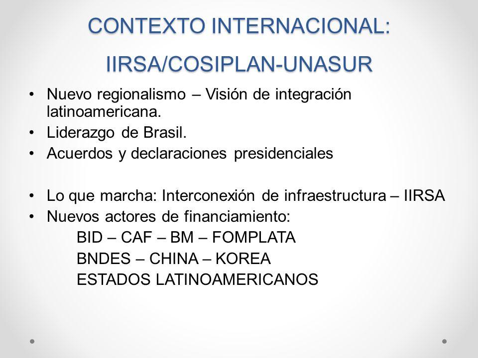 CONTEXTO INTERNACIONAL: IIRSA/COSIPLAN-UNASUR Nuevo regionalismo – Visión de integración latinoamericana. Liderazgo de Brasil. Acuerdos y declaracione