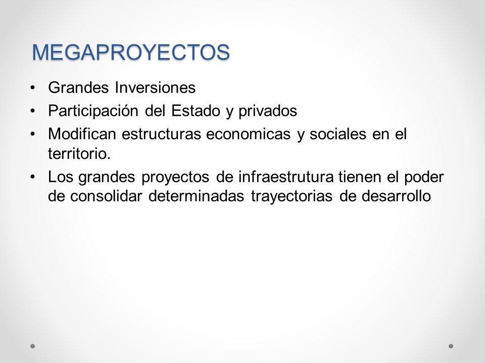 MEGAPROYECTOS Grandes Inversiones Participación del Estado y privados Modifican estructuras economicas y sociales en el territorio. Los grandes proyec