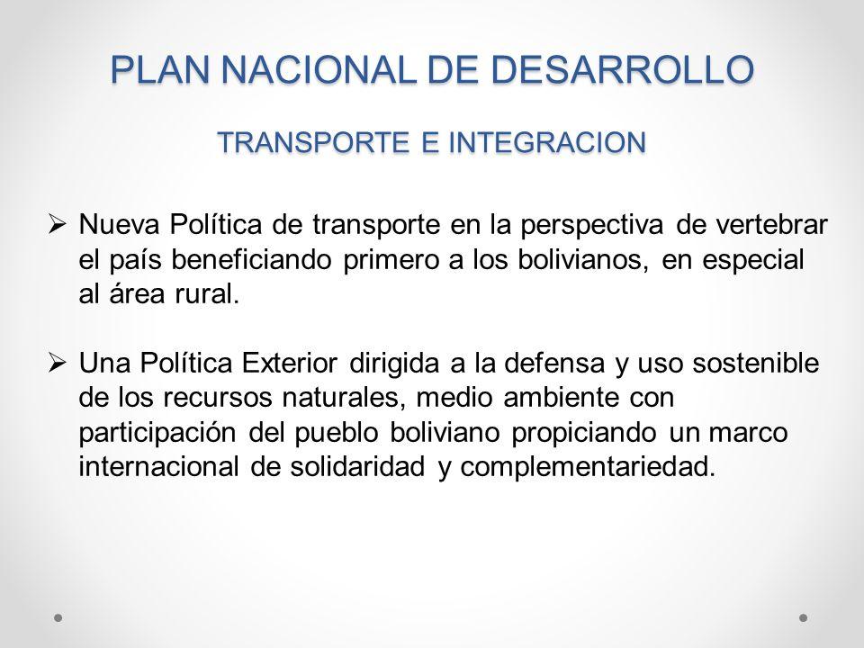BOLIVIA PRODUCTIVA VINCULACION Y ARTICULACION PRODUCTIVA Y SOCIAL DEL PAIS: TRANSPORTE Y TELECOMUNICACIONES Vertebración Interna e Integración Externa Inversiones eficientes en infraestructura de transportes Recuperación del patrimonio y del rol conductor del Estado