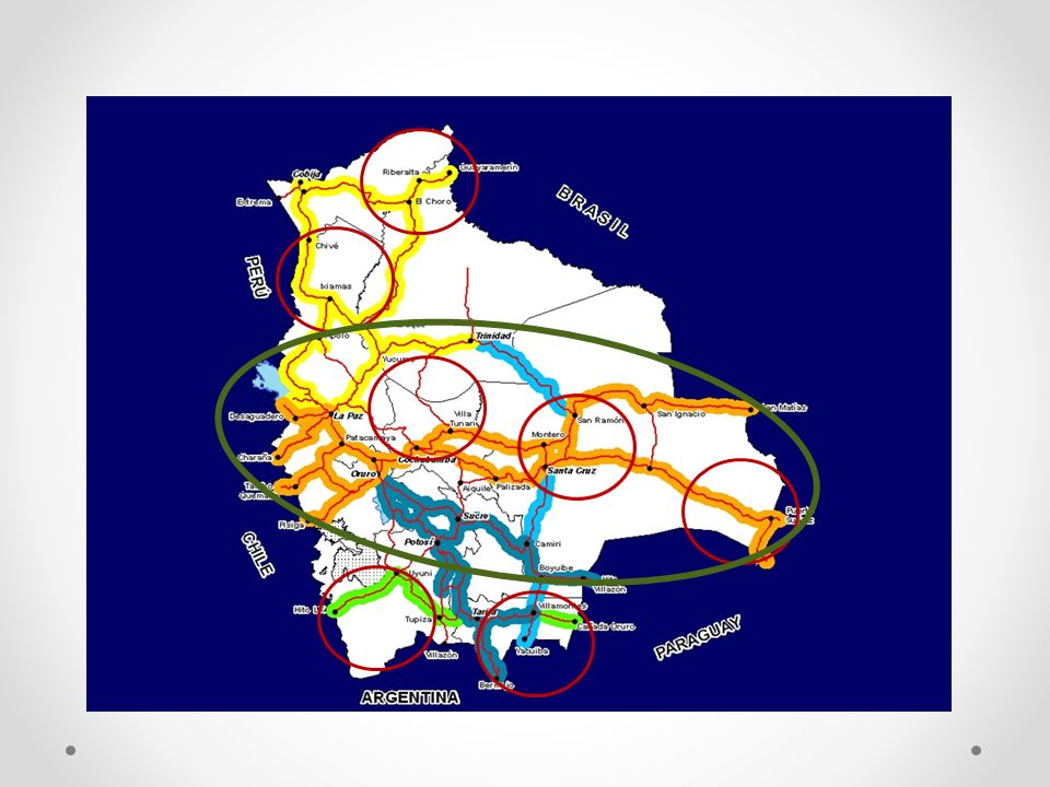 CORREDOR BIOCEANICO Nombre_ProyectoDimension_P rincipal UnidadFinanciamien to Externo MUS$ Financiamiento Nacional MUS$ TOTAL MUS$ REHABILITACION COTOCA PAILON (PARAISO)3908km8311 DOBLE VIA SANTA CRUZ - COTOCA1947km261137 DOBLE VIA WARNES - MONTERO Y CIRCUNVALACION23,2km13417 DOBLE VIA MONTERO (STA CRUZ) - CRISTAL MAYU (CBBA)285,2km226289515 DOBLE VIA QUILLACOLLO - SUTICOLLO13km21930 CARRETERA TRINIDAD - PUERTO USTAREZ330km226 CARRETERA SANTA CRUZ PUERTO SUAREZ596km44020461 AMPLIACION DEL TRAMO SANTA CRUZ -WARNES26,6km13114 FERROCARRIL BIOCEANICO (TRAMO BOLIVIANO)500km3.500 FERROCARRIL MONTERO - BULO BULO148km 237 DOBLE VÍA CARACOLLO – COLOMI (ORURO – COCHABAMBA)256,6km363157520 REHABILITACION TRAMO EL SILLAR (ENTRE PARACTI Y VILLA TUNARI)30km1223125 DOBLE VIA LA PAZ - ORURO204km25720277 CARRETERA ORURO - PISIGA235km9512107 CARRETERA CONCEPCION - SAN IGNACIO km19116207 CARRETERA VILLA TUNARI - SAN IGNACIO DE MOXOS306km PUENTE BANEGAS1,44km41 PAVIMENTACION PUENTE BANEGAS OKINAGUA km400 AMPLIACION AEROPUERTO DE VIRU VIRU 25 CARRETERA ORURO - PISIGA234,4km9411105 TOTAL 6.016 817 6.853