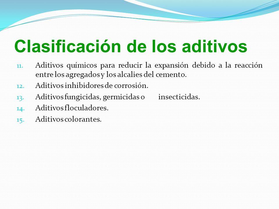 11. Aditivos químicos para reducir la expansión debido a la reacción entre los agregados y los alcalies del cemento. 12. Aditivos inhibidores de corro