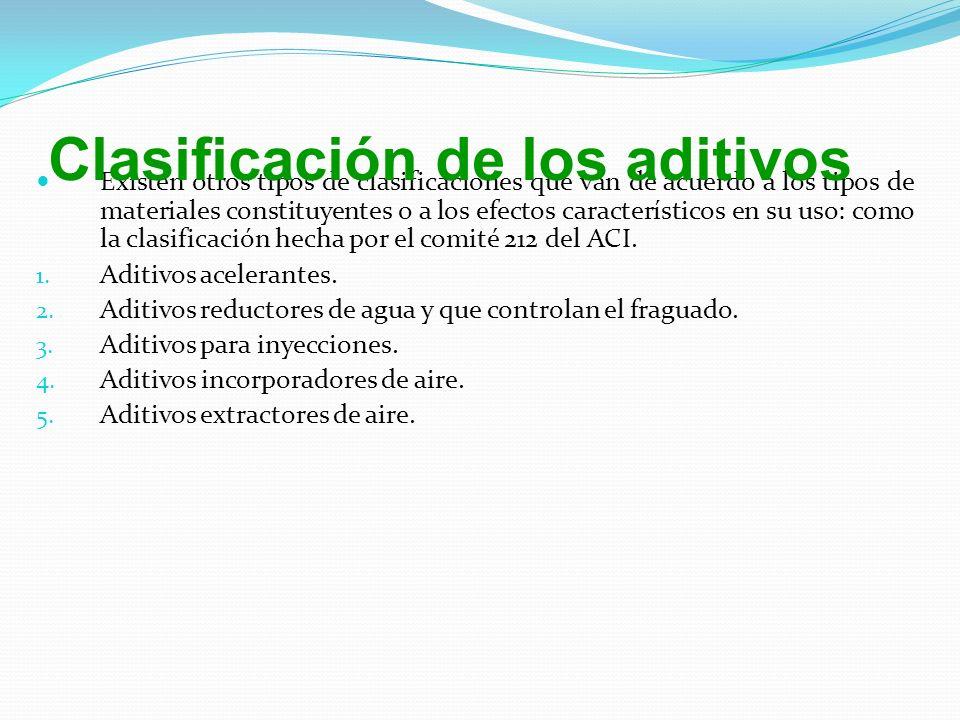 Existen otros tipos de clasificaciones que van de acuerdo a los tipos de materiales constituyentes o a los efectos característicos en su uso: como la clasificación hecha por el comité 212 del ACI.