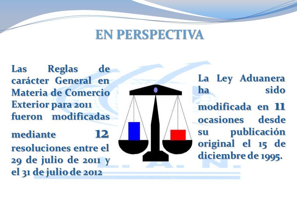 EN PERSPECTIVA La Ley Aduanera ha sido modificada en 11 ocasiones desde su publicación original el 15 de diciembre de 1995.