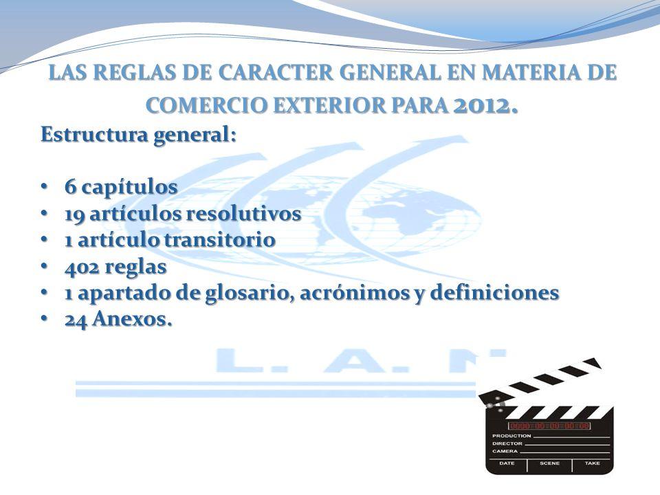 LAS REGLAS DE CARACTER GENERAL EN MATERIA DE COMERCIO EXTERIOR PARA 2012.