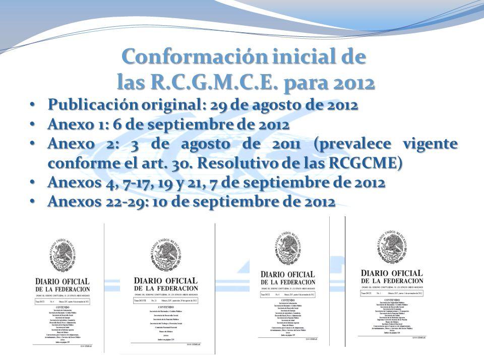 Conformación inicial de las R.C.G.M.C.E. para 2012 las R.C.G.M.C.E.