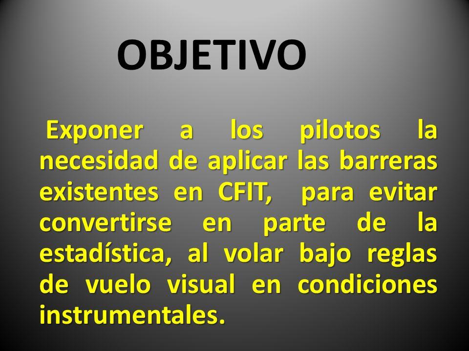 OBJETIVO Exponer a los pilotos la necesidad de aplicar las barreras existentes en CFIT, para evitar convertirse en parte de la estadística, al volar b