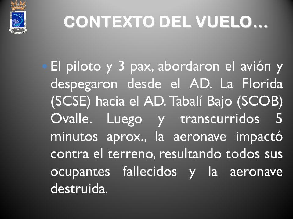 CONTEXTO DEL VUELO… El piloto y 3 pax, abordaron el avión y despegaron desde el AD. La Florida (SCSE) hacia el AD. Tabalí Bajo (SCOB) Ovalle. Luego y