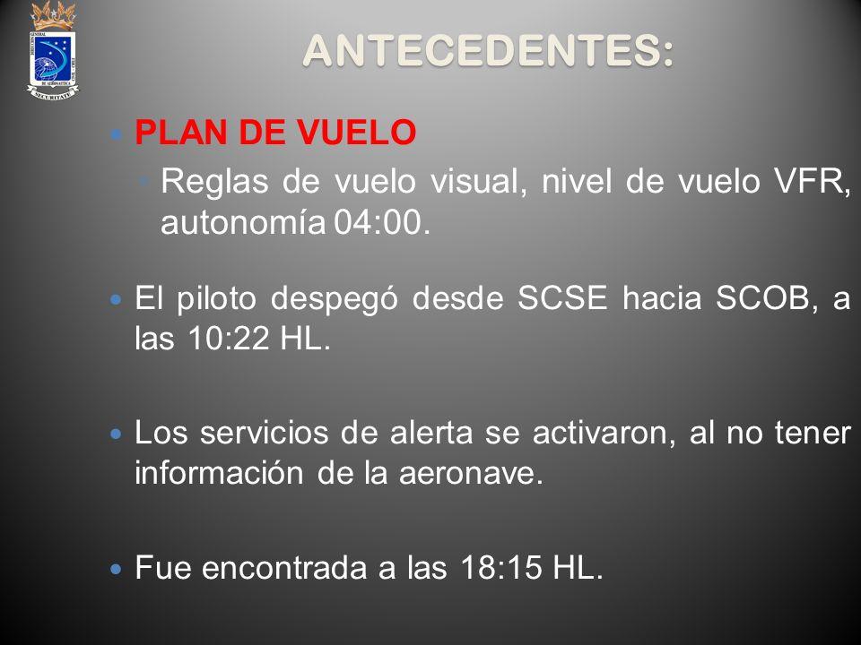 ANTECEDENTES: PLAN DE VUELO Reglas de vuelo visual, nivel de vuelo VFR, autonomía 04:00. El piloto despegó desde SCSE hacia SCOB, a las 10:22 HL. Los