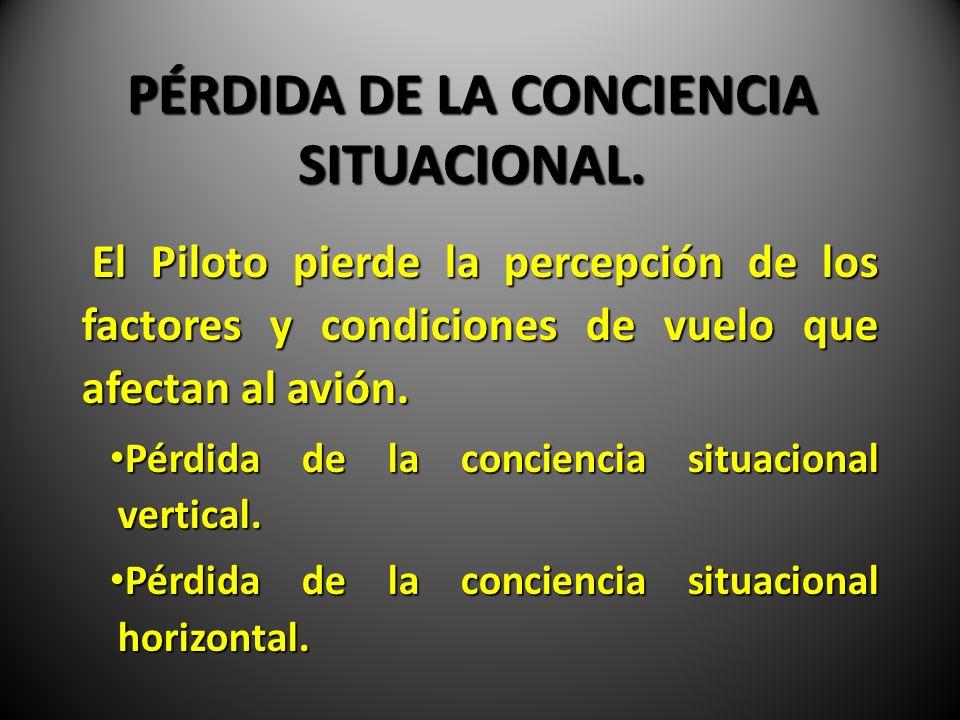 PÉRDIDA DE LA CONCIENCIA SITUACIONAL. El Piloto pierde la percepción de los factores y condiciones de vuelo que afectan al avión. El Piloto pierde la
