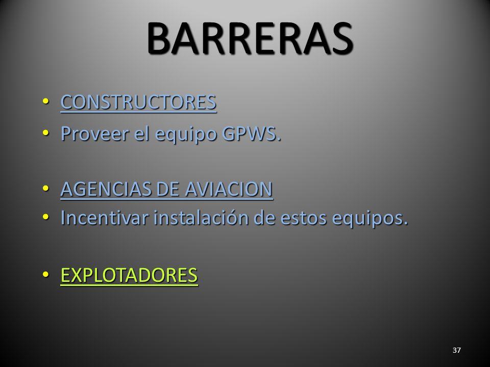 37 BARRERAS CONSTRUCTORES CONSTRUCTORES Proveer el equipo GPWS. Proveer el equipo GPWS. AGENCIAS DE AVIACION AGENCIAS DE AVIACION Incentivar instalaci