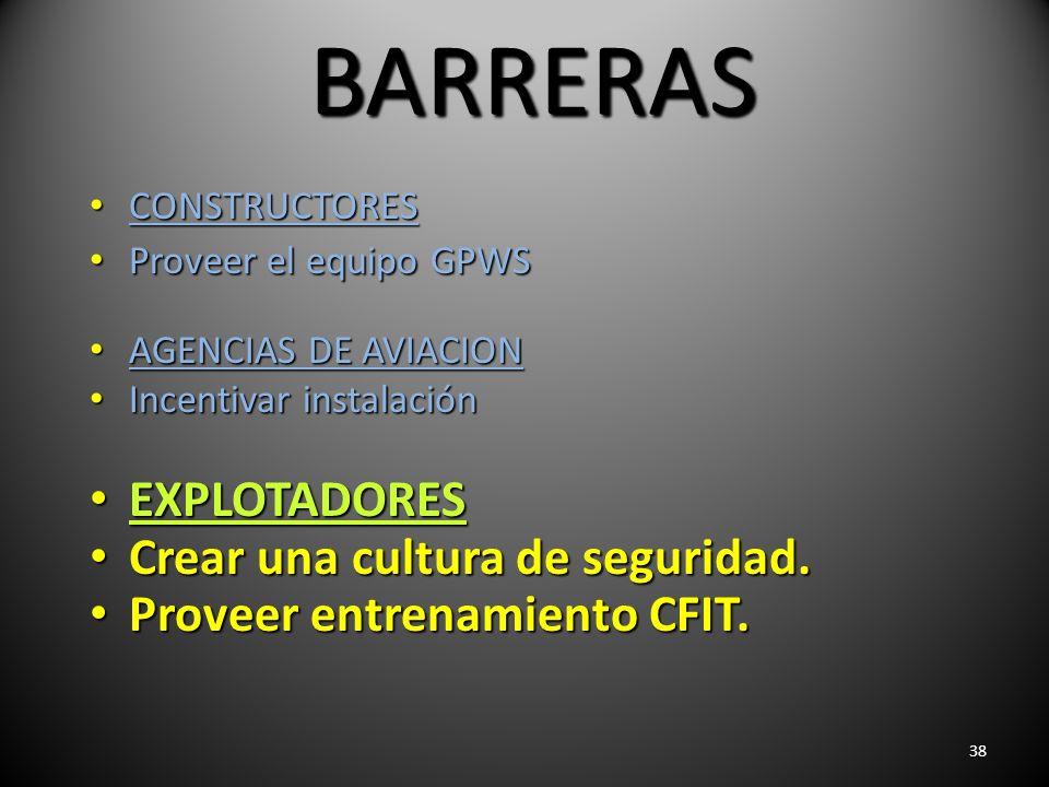 38 BARRERAS CONSTRUCTORES CONSTRUCTORES Proveer el equipo GPWS Proveer el equipo GPWS AGENCIAS DE AVIACION AGENCIAS DE AVIACION Incentivar instalación