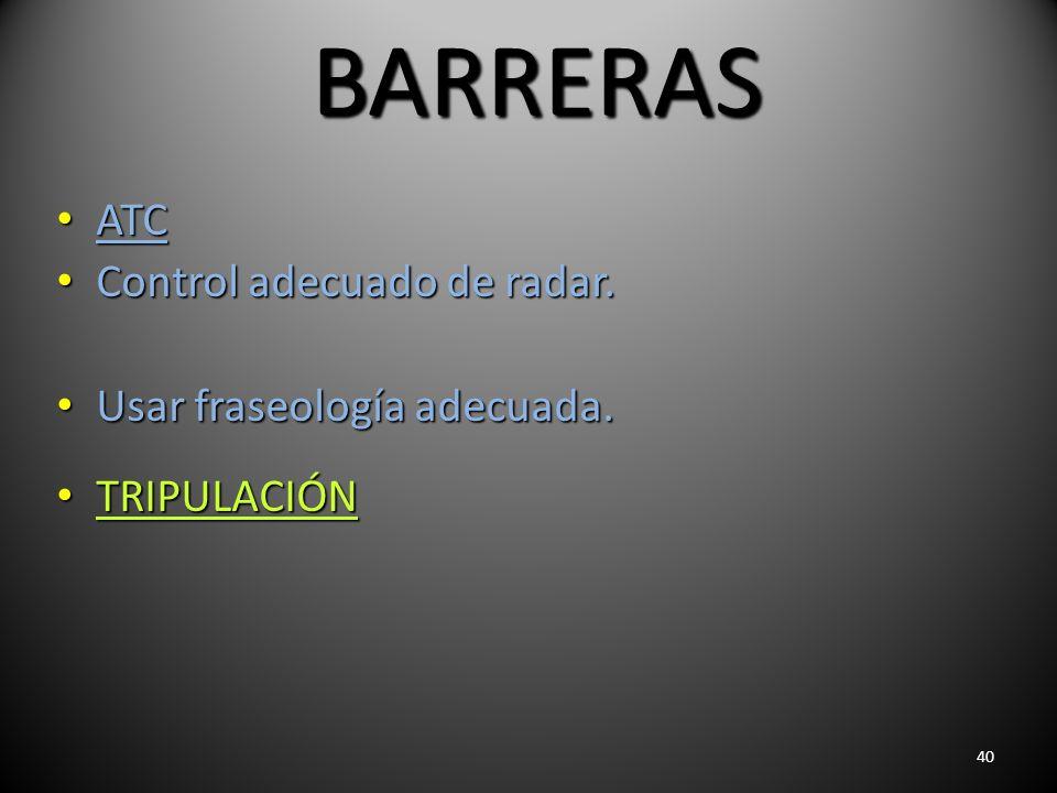 40 BARRERAS ATC ATC Control adecuado de radar. Control adecuado de radar. Usar fraseología adecuada. Usar fraseología adecuada. TRIPULACIÓN TRIPULACIÓ