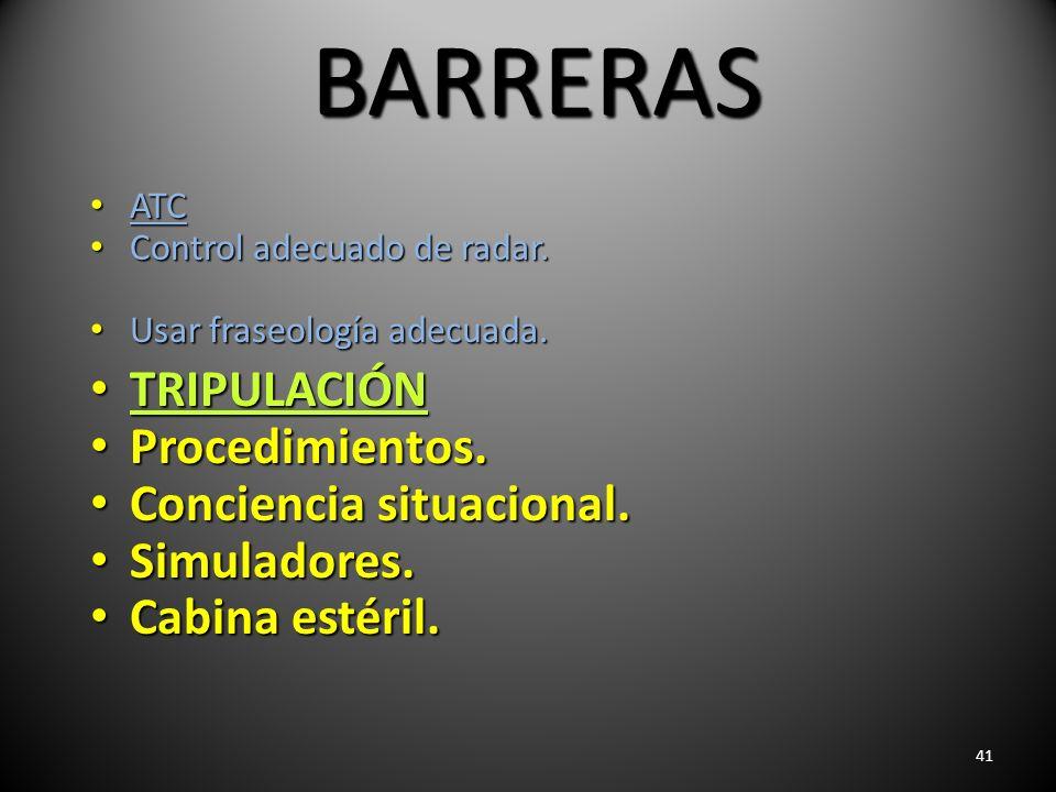 41 BARRERAS ATC ATC Control adecuado de radar. Control adecuado de radar. Usar fraseología adecuada. Usar fraseología adecuada. TRIPULACIÓN TRIPULACIÓ