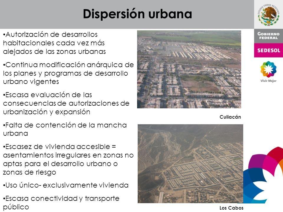 Autorización de desarrollos habitacionales cada vez más alejados de las zonas urbanas Continua modificación anárquica de los planes y programas de des