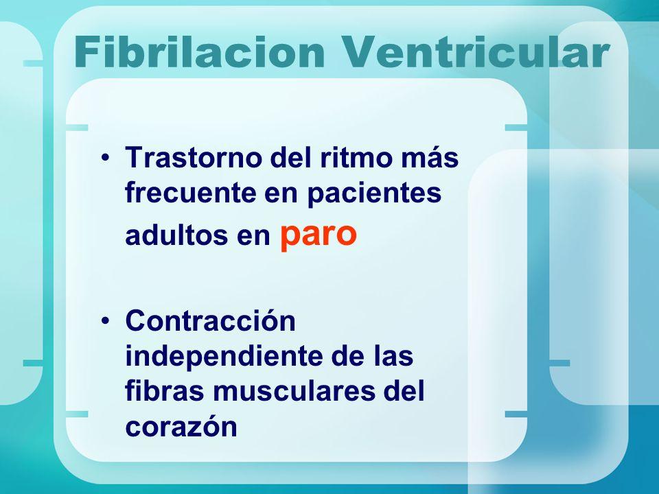 Fibrilacion Ventricular Trastorno del ritmo más frecuente en pacientes adultos en paro Contracción independiente de las fibras musculares del corazón