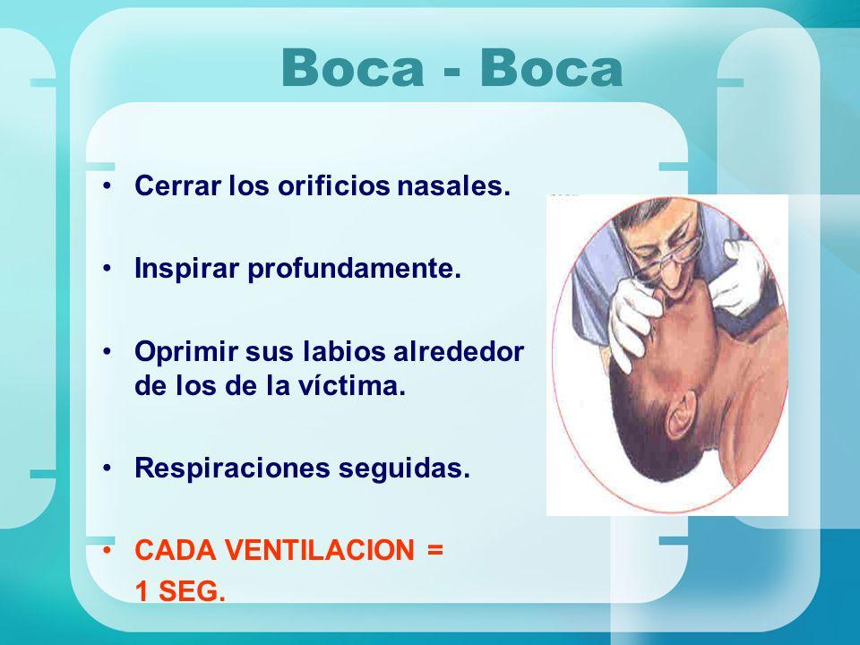 Boca - Boca Cerrar los orificios nasales. Inspirar profundamente. Oprimir sus labios alrededor de los de la víctima. Respiraciones seguidas. CADA VENT