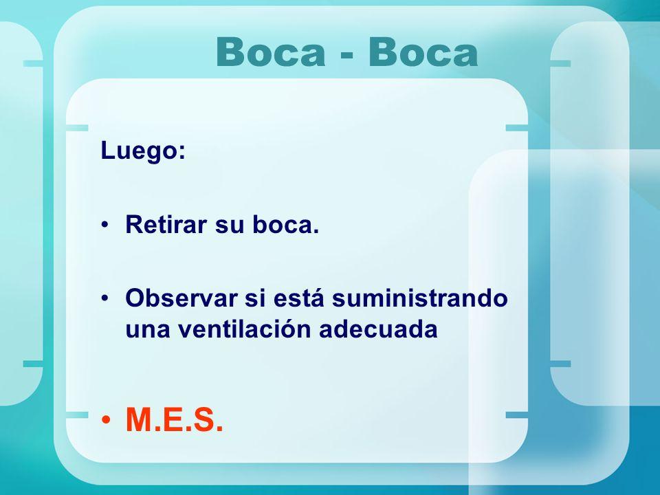 Boca - Boca Luego: Retirar su boca. Observar si está suministrando una ventilación adecuada M.E.S.