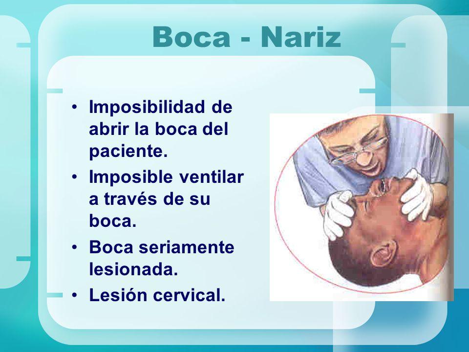 Boca - Nariz Imposibilidad de abrir la boca del paciente. Imposible ventilar a través de su boca. Boca seriamente lesionada. Lesión cervical.