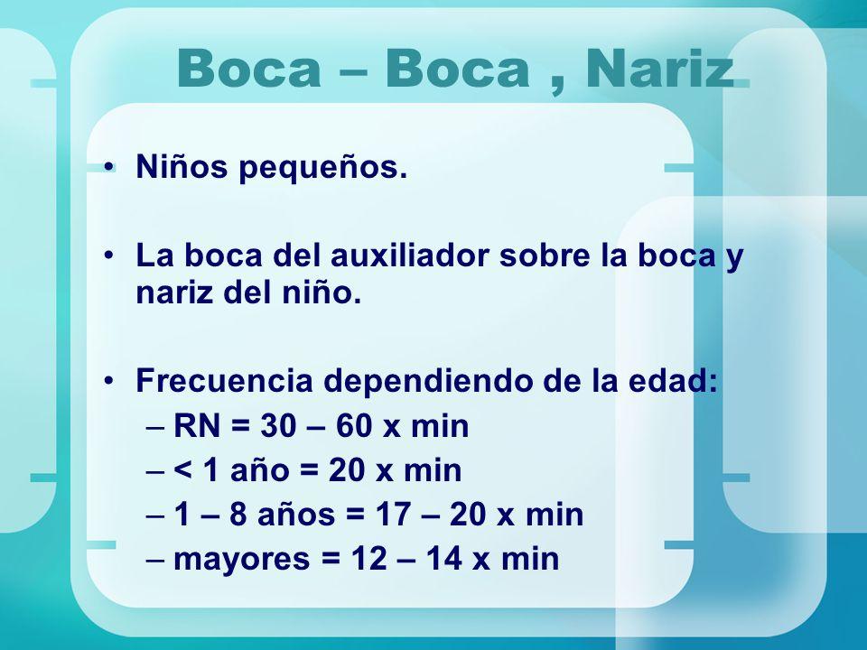 Boca – Boca, Nariz Niños pequeños. La boca del auxiliador sobre la boca y nariz del niño. Frecuencia dependiendo de la edad: –RN = 30 – 60 x min –< 1