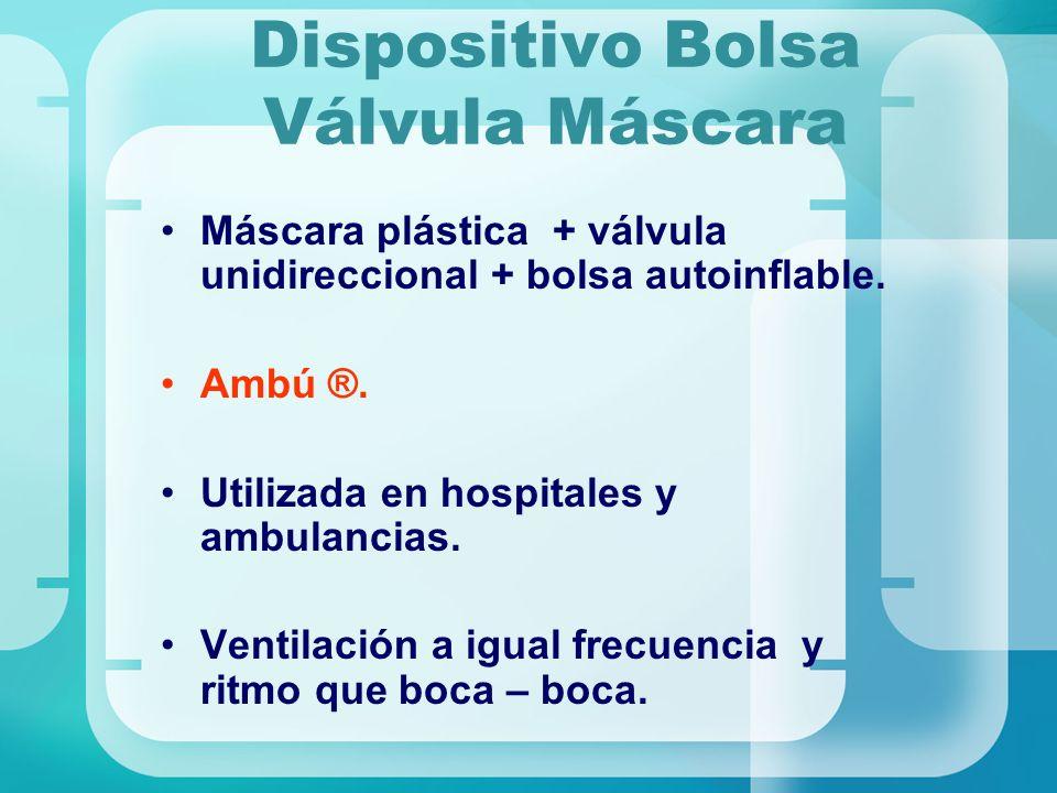 Dispositivo Bolsa Válvula Máscara Máscara plástica + válvula unidireccional + bolsa autoinflable. Ambú ®. Utilizada en hospitales y ambulancias. Venti