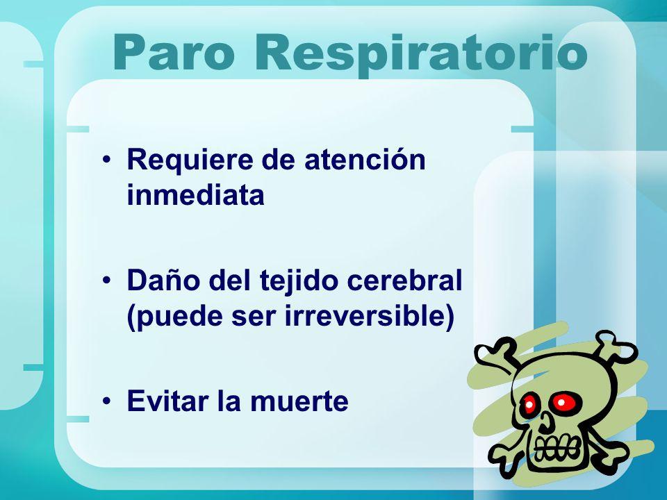 Paro Respiratorio Requiere de atención inmediata Daño del tejido cerebral (puede ser irreversible) Evitar la muerte