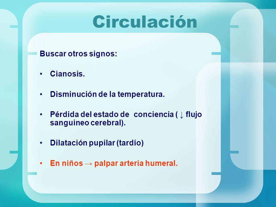 Circulación Buscar otros signos: Cianosis. Disminución de la temperatura. Pérdida del estado de conciencia ( flujo sanguineo cerebral). Dilatación pup