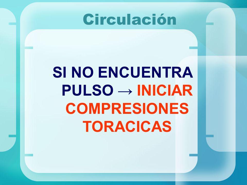 Circulación SI NO ENCUENTRA PULSO INICIAR COMPRESIONES TORACICAS