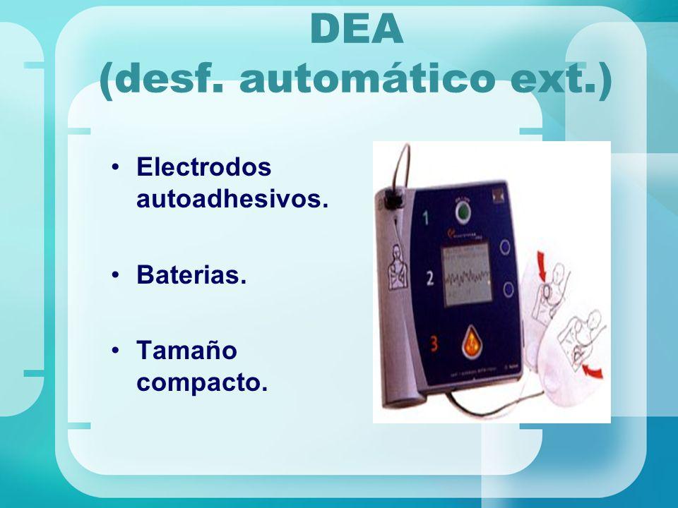 DEA (desf. automático ext.) Electrodos autoadhesivos. Baterias. Tamaño compacto.