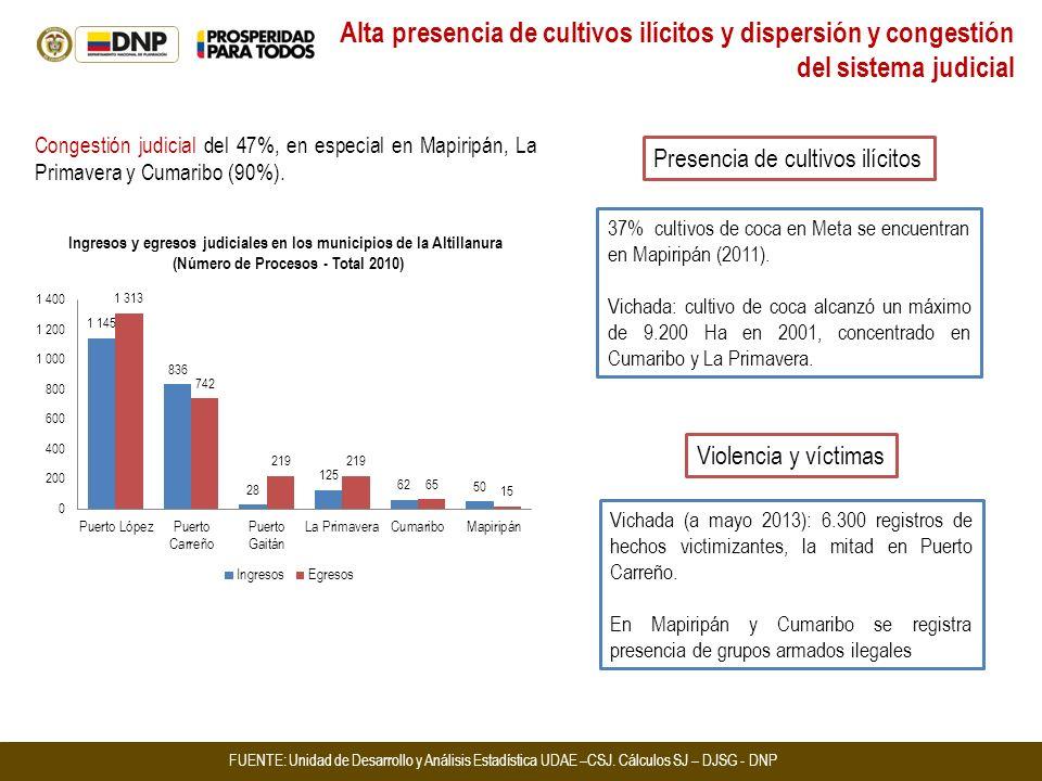 37% cultivos de coca en Meta se encuentran en Mapiripán (2011). Vichada: cultivo de coca alcanzó un máximo de 9.200 Ha en 2001, concentrado en Cumarib