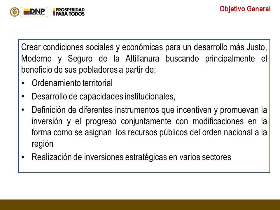 Crear condiciones sociales y económicas para un desarrollo más Justo, Moderno y Seguro de la Altillanura buscando principalmente el beneficio de sus p