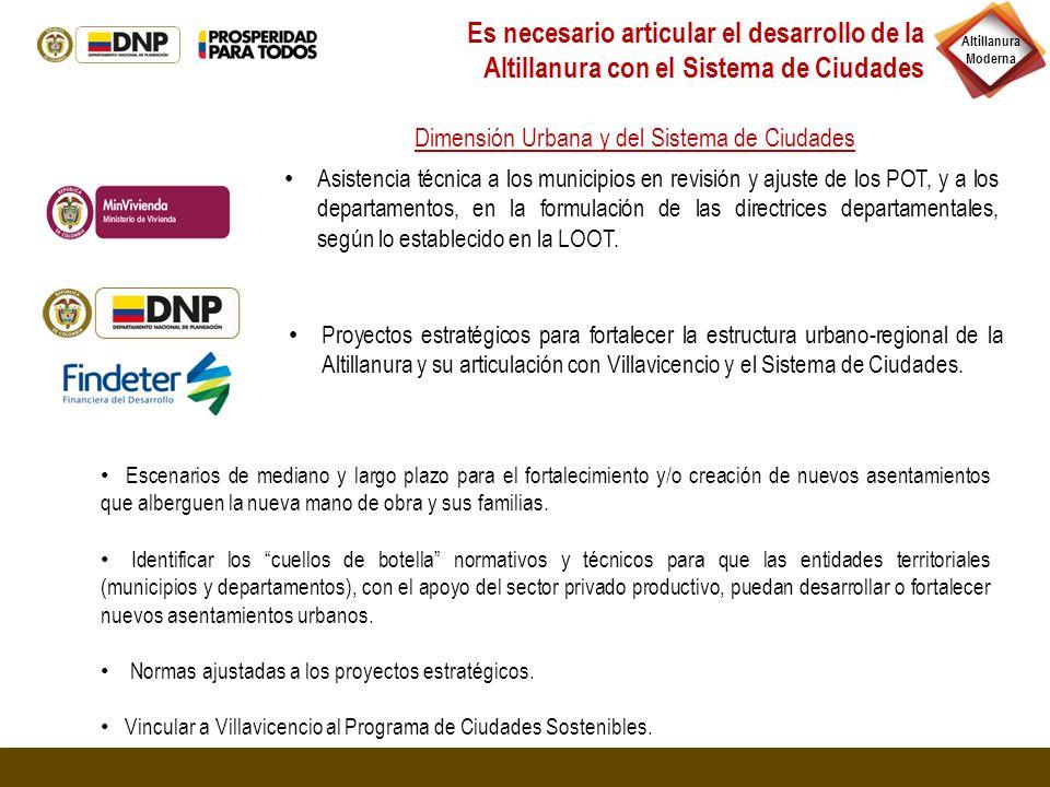 Altillanura Moderna Proyectos estratégicos para fortalecer la estructura urbano-regional de la Altillanura y su articulación con Villavicencio y el Si