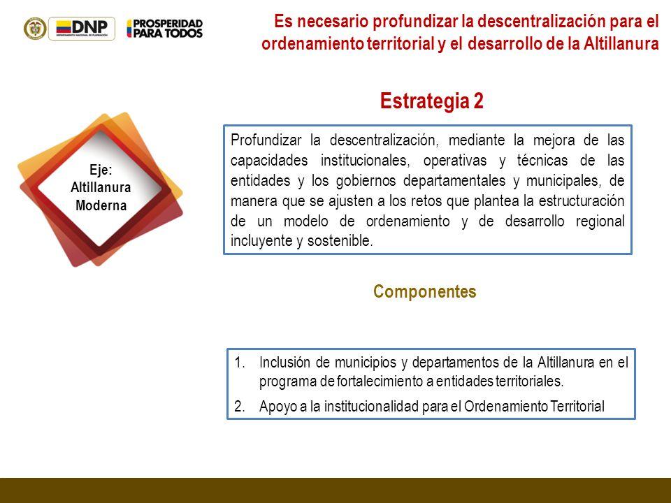 Eje: Altillanura Moderna Profundizar la descentralización, mediante la mejora de las capacidades institucionales, operativas y técnicas de las entidad
