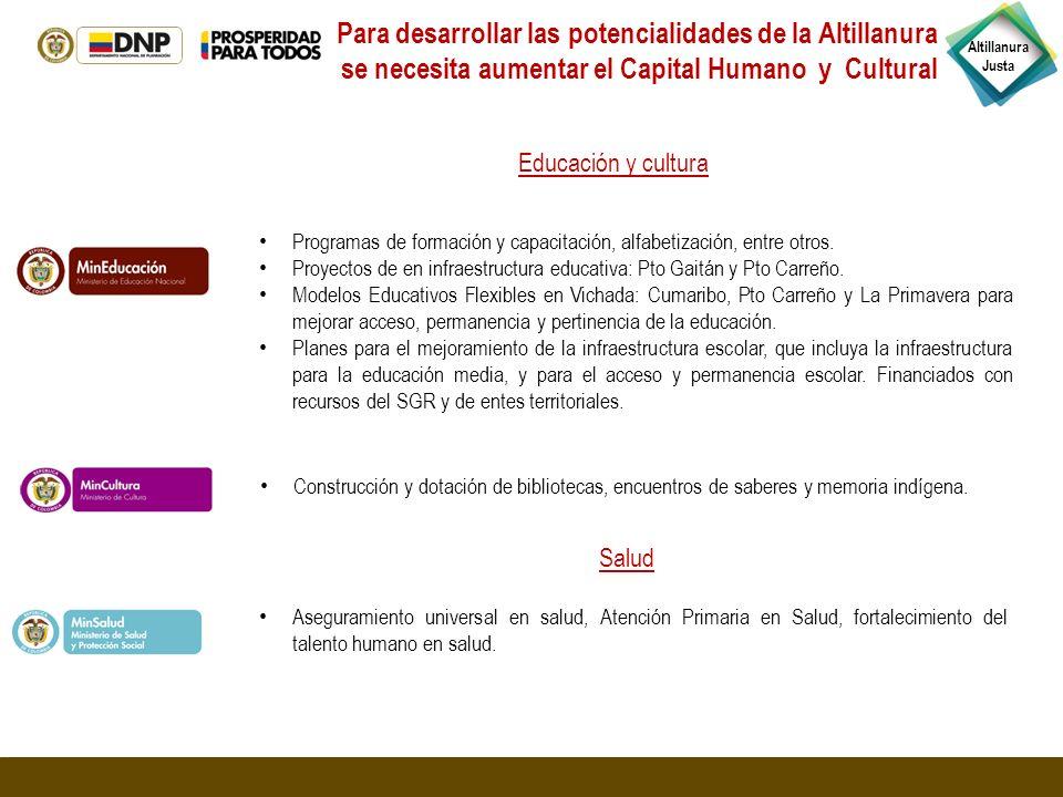 Altillanura Justa Programas de formación y capacitación, alfabetización, entre otros. Proyectos de en infraestructura educativa: Pto Gaitán y Pto Carr