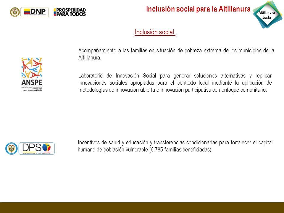 Acompañamiento a las familias en situación de pobreza extrema de los municipios de la Altillanura. Incentivos de salud y educación y transferencias co