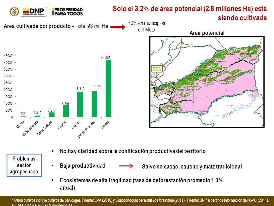 Solo el 3,2% de área potencial (2,8 millones Ha) está siendo cultivada No hay claridad sobre la zonificación productiva del territorio Baja productivi