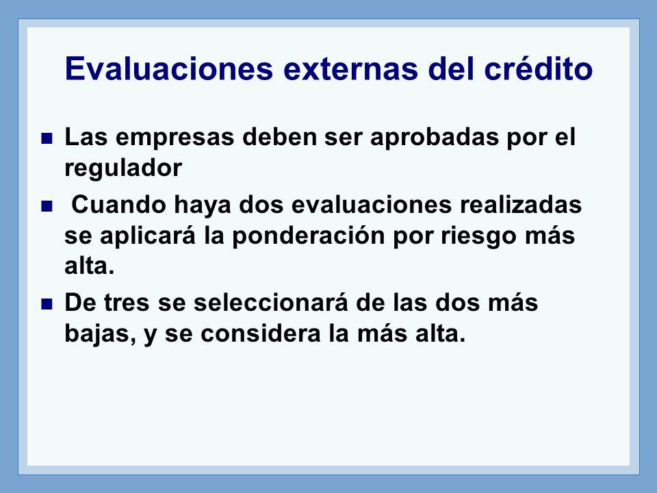 Evaluaciones externas del crédito Las empresas deben ser aprobadas por el regulador Cuando haya dos evaluaciones realizadas se aplicará la ponderación por riesgo más alta.