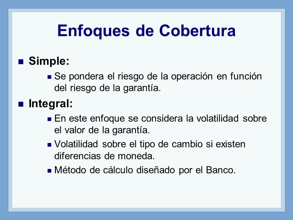 Enfoques de Cobertura Simple: Se pondera el riesgo de la operación en función del riesgo de la garantía.
