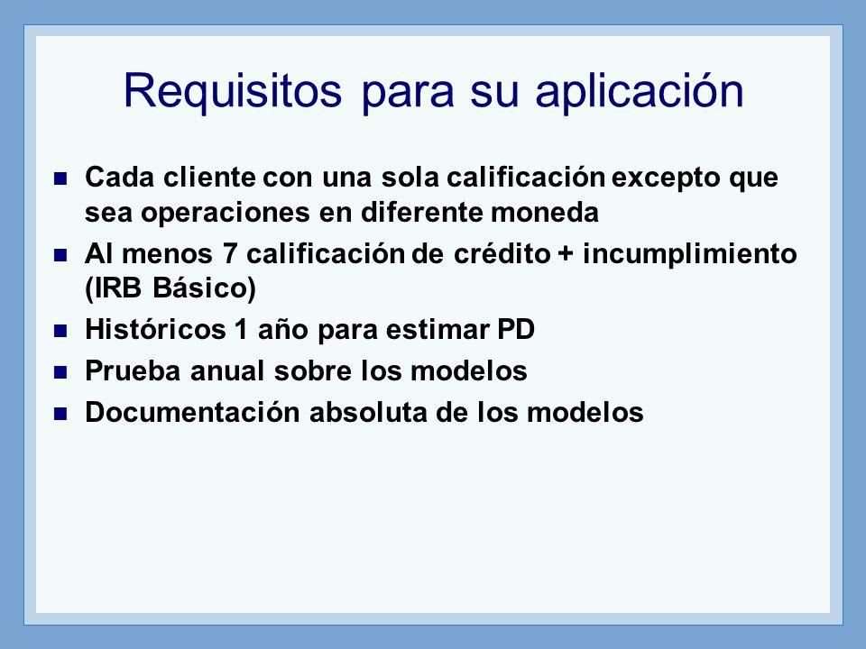 Requisitos para su aplicación Cada cliente con una sola calificación excepto que sea operaciones en diferente moneda Al menos 7 calificación de crédito + incumplimiento (IRB Básico) Históricos 1 año para estimar PD Prueba anual sobre los modelos Documentación absoluta de los modelos
