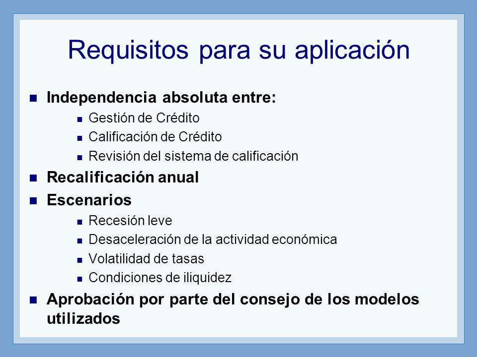 Requisitos para su aplicación Independencia absoluta entre: Gestión de Crédito Calificación de Crédito Revisión del sistema de calificación Recalificación anual Escenarios Recesión leve Desaceleración de la actividad económica Volatilidad de tasas Condiciones de iliquidez Aprobación por parte del consejo de los modelos utilizados